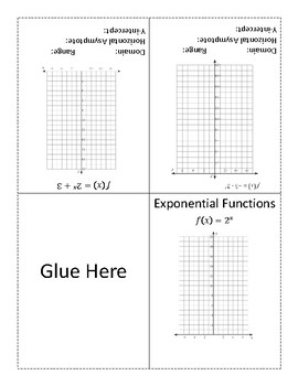 Graphing Exponential Functions Foldable