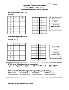 Graphing Exponential Functions Worksheet | Teachers Pay Teachers