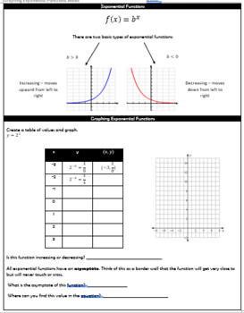 Graphing Exponential Functions Guided Notes and HW