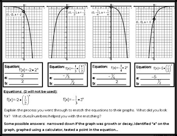Graphing Exponential Growth and Decay Matching Activity FREEBIE!