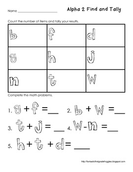 Graphing: Find, Tally and Graph- Alphabet Set 2