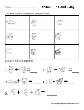 Graphing: Find, Tally and Graph- Animals