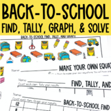 Graphing: Find, Tally and Graph- Back to School