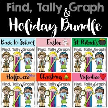 Graphing: Find, Tally and Graph- Holidays Bundle