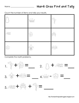 Graphing: Find, Tally and Graph- Mardi Gras