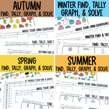 Graphing: Find, Tally and Graph- Seasons Bundle