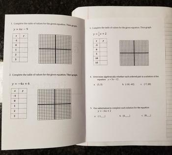 Graphing From A Table for Interactive Notebooks