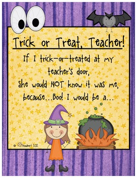 Graphing Halloween:  Trick-Or-Treat, Teacher!  Boo!