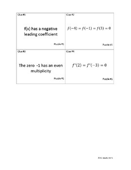 Graphing Higher Order Polynomials Concept Puzzle - Cooperative Learning Activity