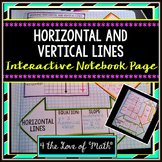 Graphing Horizontal and Vertical Lines: Interactive Notebook Page
