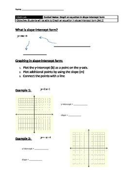 slope intercept form notes pdf  Graphing In Slope Intercept Form - Guided Notes