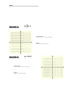 Graphing In Slope Intercept Form - Guided Notes