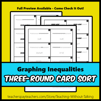 Graphing Inequalities Card Sort