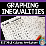Graphing Inequalities Coloring Worksheet - Editable