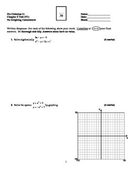 Graphing Inequalities & Systems of Equations Test with FULL SOLUTIONS