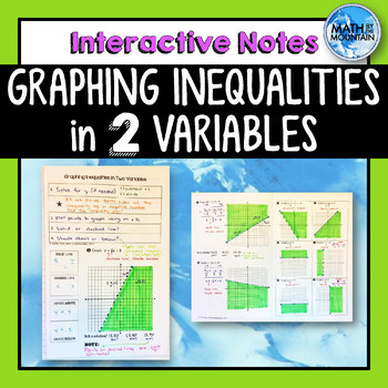 Graphing Inequalities in Two Variables Interactive Notebook Notes