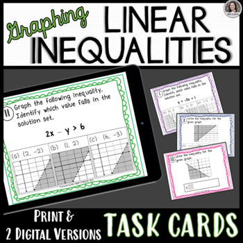 Graphing Inequalities in Two Variables Task Cards