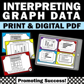 Interpreting Graphs Task Cards, 3rd Grade Math Review Game SCOOT