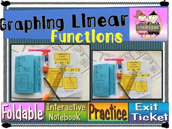 Graphing LInear Functions & Critical Attributes Foldable, INB, Practice, Exit