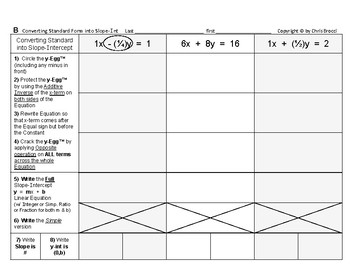 """Graphing Linear Equations 07: Convert """"Standard"""" Form  Slope-Intercept equation"""