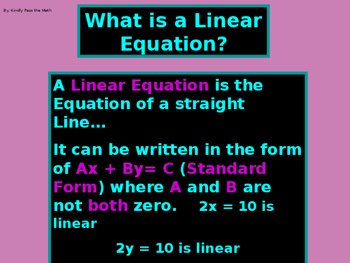 Algebra Power-Point:  Graphing Linear Equations