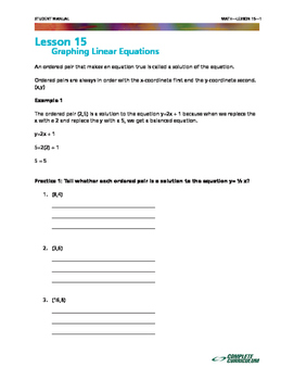 Graphing Linear Equations - 8th Grade Math Mini