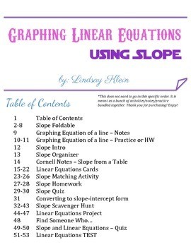Graphing Linear Equations Bundle