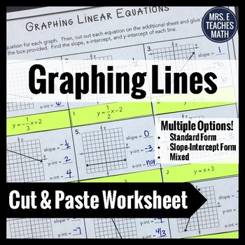 Graphing Linear Equations Cut And Paste Worksheet By Mrs E Teaches Math