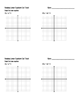 Graphing Linear Equations Exit Ticket Bundle