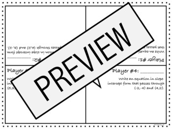 Graphing Linear Equations Review: Four 2 Score
