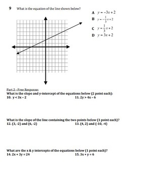 Graphing Linear Equations and Inequalities in 2 Variables and Word Problems Test