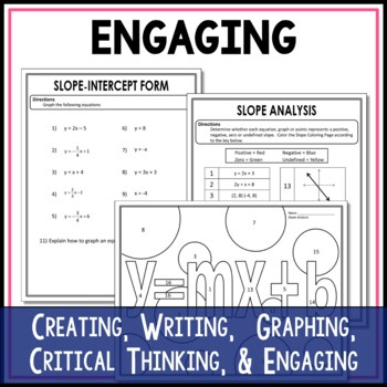 Graphing Linear Equations Middle School Math Stations