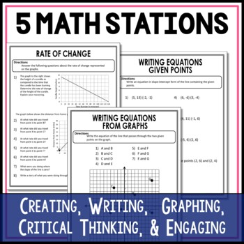 Graphing Linear Equations Math Stations :  Middle School Math Stations