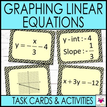 Graphing Linear Equations Middle School Math Task Cards