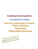 Graphing Linear Equations Mixed Methods (Table of Values,