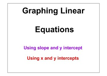 Graphing Linear Equations Placemat