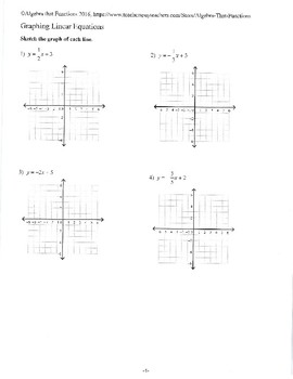 Graphing Linear Equations Written in Slope-intercept and Standard form Practice