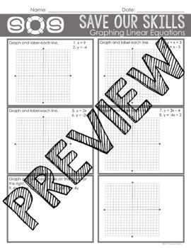 Graphing Linear Equations SOS (Save Our Skills)