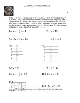 Graphing Linear Equations: Stained Glass... by Math Maker ...