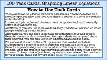 Graphing Linear Equations Task Cards