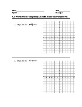 Graphing Linear Equations Warm Up