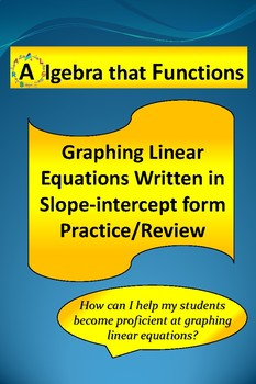 Graphing Linear Equations Written in Slope-intercept form Practice, Review
