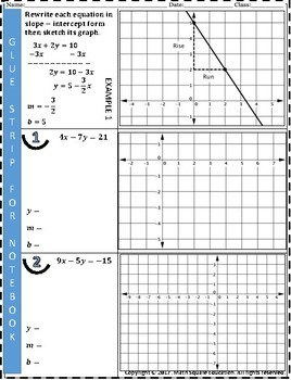 Linear Equations: Graphing linear equations from standard forms.