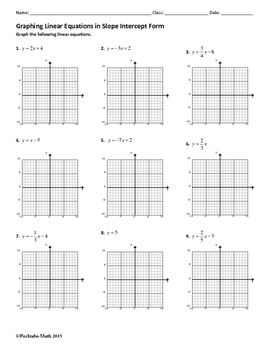 graphing linear equations in slope intercept form algebra worksheet. Black Bedroom Furniture Sets. Home Design Ideas