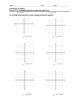 Graphing Linear Equations in Slope-Intercept Form HW (2)