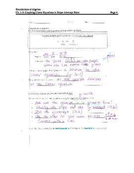 Graphing Linear Equations in Slope-Intercept Form NOTES (1)