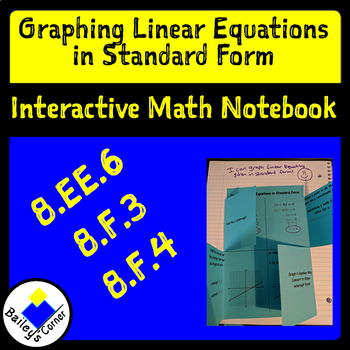 Graphing Linear Equations In Standard Form Foldable For Interactive