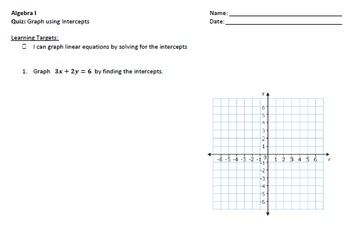 Graphing Linear Equations using Intercepts Quiz