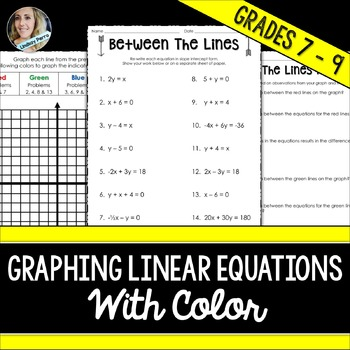 Graphing Linear Equations with Color Worksheet