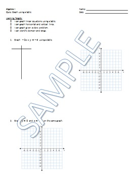Graphing Linear Equations with a table QUIZ
